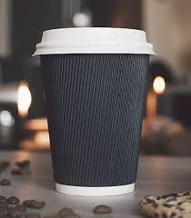 Black ripple wall coffee cup