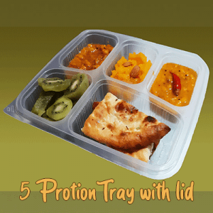 5 portion tray with lid